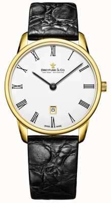 Dreyfuss Mens 1980 Leather Strap Gold Plated Watch DGS00136/01