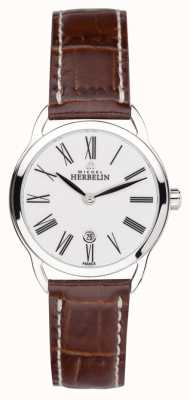 Michel Herbelin Ladies Equinox Roman Brown Strap 16977/01GO