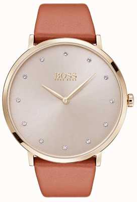 Hugo Boss Womans Jillian Gold Tone Plated Case Tan Leather 1502411