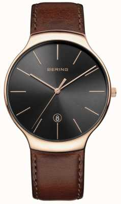 Bering Mens Classic Date Brown Leather Strap 13338-562