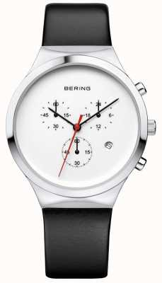Bering Mens Classic White Chronograph Black Leather Strap 14736-404