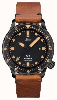Sinn U1 S E U-Boat Steel Vintage Brown Leather V-Stitch 1010.023