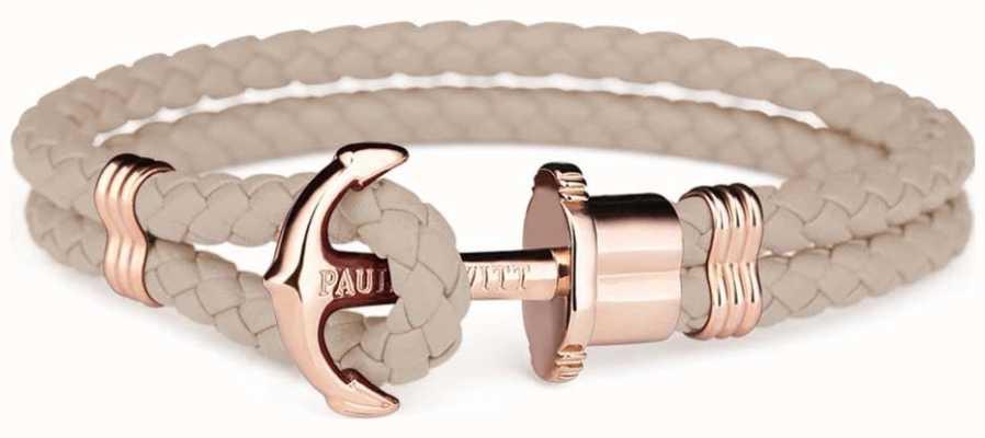 Paul Hewitt Jewellery Phrep Rose Gold Anchor Hazlenut Leather Bracelet Large PH-PH-L-R-H-L