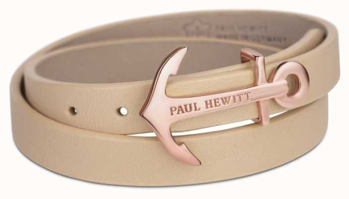 Paul Hewitt Northbound Rose Gold Anchor Hazlenut Leather Bracelet Small PH-WB-R-22S