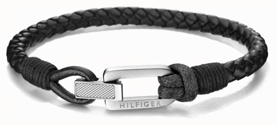 Tommy Hilfiger Mens Black Leather Bracelet 2701012