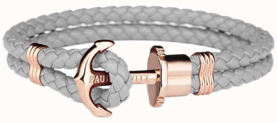 Paul Hewitt Jewellery Phrep Gold Anchor Grey Leather Bracelet Medium PH-PH-L-R-GR-M