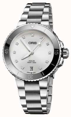 Oris Womens Aquis Diamond Set Steel Watch 01 733 7731 4191-07 8 18 05P