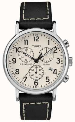 Timex Mens Weekender Chronograph Black Leather Strap TW2R42800D7PF