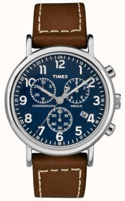 Timex Mens Weekender Chronograph Brown Leather Strap TW2R42600D7