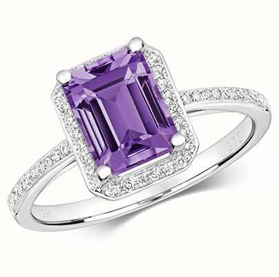 James Moore TH 9k White Gold Diamond Amethyst Ring RD428WAM