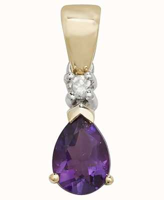 Treasure House 9k Yellow Gold Pear Amethyst Diamond Pendant PD237A