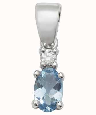 James Moore TH 9k White Gold Oval Aquamarine Diamond Pendant PD240WAQ