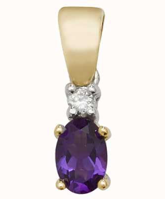 James Moore TH 9ct Yellow Gold Diamond And Amethyst Pendant Only PD240A