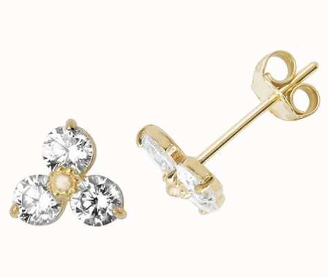 Treasure House 9k Yellow Gold Cubic Zirconia Stud Earrings ES493