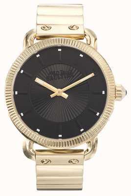 Jean Paul Gaultier Mens Index Gold PVD Bracelet Black Dial JP8504403