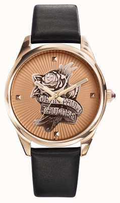 Jean Paul Gaultier Navy Tatoo Black Leather Strap Rose Gold Dial JP8502411