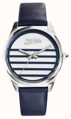 Jean Paul Gaultier Navy Blue Leather Strap White Dial JP8502409
