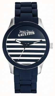 Jean Paul Gaultier Enfants Terribles Blue Rubber Steel Bracelet JP8501118