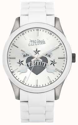 Jean Paul Gaultier Enfants Terribles White Rubber Steel Bracelet White Dial JP8501123