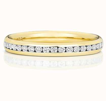 James Moore TH 18k Yellow Gold  50% Diamond Set Channel Eternity Ring WQ220