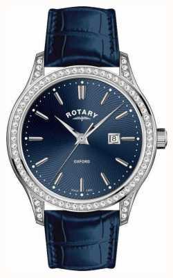 Rotary Womens Oxford Leather Strap Blue Quartz Watch LS05092/05