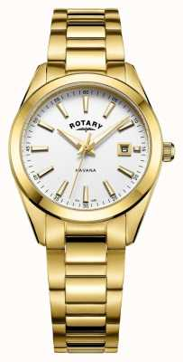 Rotary Womens Havana Gold Plated White Watch LB05081/02