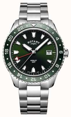 Rotary Mens Henley Green Stainless Steel Quartz Watch GB05108/24