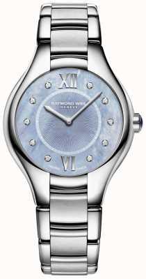 Raymond Weil Womens Noemia Diamond Stainless Steel Bracelet Blue Dial 5132-ST-00955