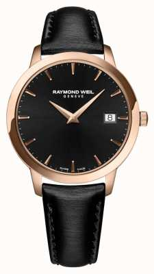 Raymond Weil Womens Toccata Black Leather Strap Black Dial 5388-PC5-20001