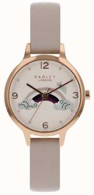 Radley Womans Rainbow Dog Rose Gold Case Nude Leather Strap RY2560