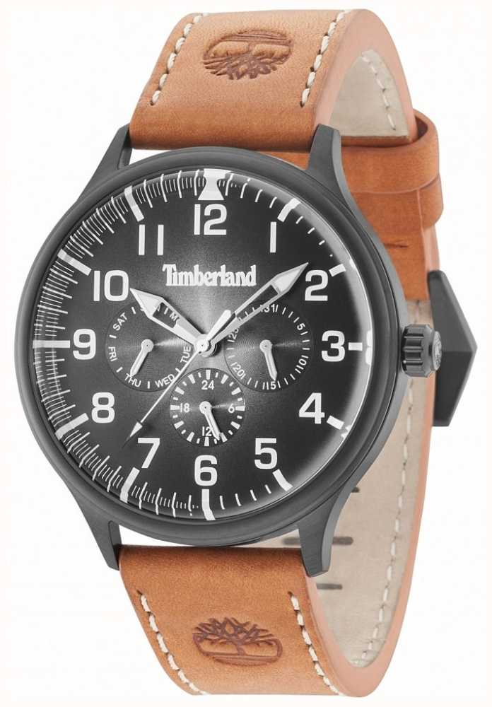 Timberland Blanchard Black Dial Brown Leather Strap 15270JSB 02 ... 2229514a679