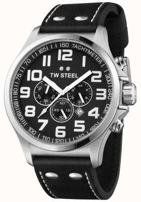 TW Steel Mens Pilot Chronograph Black Leather Strap Black Dial TW413