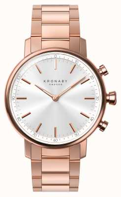 Kronaby 38mm CARAT Bluetooth Rose Gold Bracelet Silver Smartwatch A1000-2446