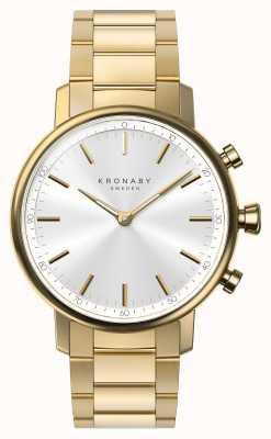 Kronaby 38mm CARAT Bluetooth Gold Bracelet Silver Dial Smartwatch A1000-2447