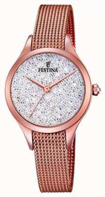 Festina Womens Mademoiselle Rose Gold PVD Mesh Swarovski Dial F20338/1