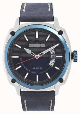DeLorean Motor Company Watches ALPHA DMC BLUE Mens Grey Leather Strap Blue Dial DMC-2