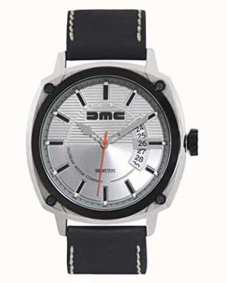 DeLorean Motor Company Watches ALPHA DMC SILVER Mens Silver Dial Black Leather Strap DMC-3