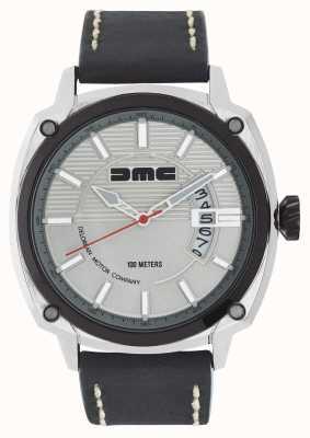 DeLorean Motor Company Watches ALPHA DMC SILVER Mens Silver Dial Black Leather Strap DMC-3