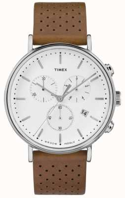 Timex Fairfield Chrono Brown Leather Strap/White Dial TW2R26700