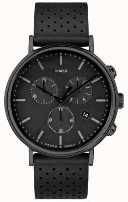 Timex Fairfield Chrono Black Leather Strap/Black Dial TW2R26800