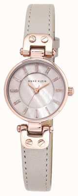 Anne Klein Womens Lynn Watch rise Gold Case Leather Strap AK/N1950RGTP