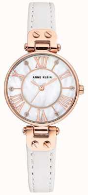 Anne Klein Womens Jane Watch Rose Gold Case Leather Strap AK/N2718RGWT