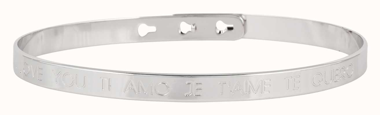 "Mya Bay Stainless Steel ""je'aime I Love You Ti Amo Te Quiero Bangle JC-03.S"