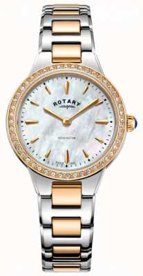 Rotary Women's Kensington Rose Gold Two Tone Stone Set Watch LB05277/41