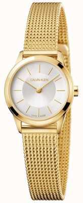 Calvin Klein Ladies Minimal Gold Mesh Bracelet White Dial K3M23526