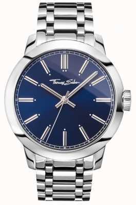 Thomas Sabo Mens Rebel At Heart Watch Stainless Steel Bracelet Blue Dial WA0310-201-209-46