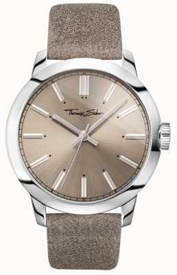 Thomas Sabo Mens Rebel At Heart Watch Grey Leather Strap Grey Dial WA0313-273-214-46