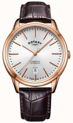 Rotary Mens Cambridge Watch Rose Gold Tone Case Leather Strap GS05252/02