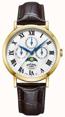 Rotary Mens Windsor Moonphase Watch Leather Strap GS05328/01