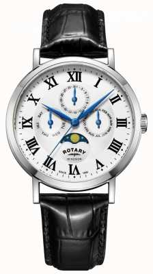 Rotary Mens Windsor Moonphase Day Date Watch Black Leather Strap GS05325/01
